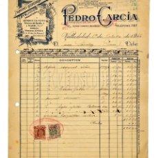 Facturas antiguas: FACTURA ALMACENES LA ESMERALDA GÉNEROS DE PUNTO PEDRO GARCÍA. VALLADOLID 1942. Lote 144048926