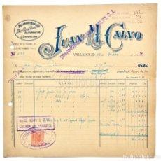 Facturas antiguas: FACTURA ALMACÉN DE CALZADO JUAN M. CALVO. VALLADOLID 1942. Lote 144049062