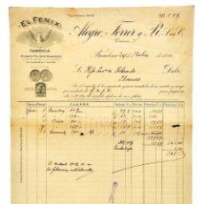 Facturas antiguas: FACTURA FÁBRICA DE TEJIDOS EL FÉNIX ALEGRE FERRER Y PI. BARCELONA 1930. Lote 144051286