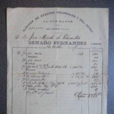 Facturas antiguas: A CORUÑA FACTURA CON BONITO MEMBRETE AÑO 1899 COLONIALES DEL REINO GENARO FERNÁN. Lote 144137730