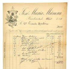 Fatture antiche: FACTURA FARMACIA JOSE MARÍA MÚNERA, PÍLDORAS Y LICOR BREA. BARCELONA 1899. Lote 144254278