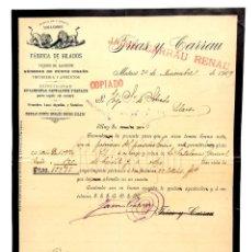 Facturas antiguas: FACTURA FÁBRICA DE HILADOS LOS LEONES FRÍAS Y CARRAU. MATARÓ BARCELONA 1909. Lote 144262002