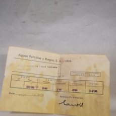 Facturas antiguas: ANTIGUO RECIBO DE AGUAS POTABLES S.A. DE LLIRIA DEL AÑO 1969. Lote 144507208