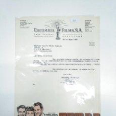 Facturas antiguas: COLUMBIA FILMS FACTURA RECIBO. TEXAS. WILLIAM HOLDEN. CLAIRE TREVOR. GLENN FORD. TDKR33. Lote 145048118
