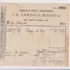 Facturas antiguas - FACTURA. A. CANDELA MAGRO. ALMACÉN DE VINOS Y AGUARDIENTES. MADRID 1900 - 145444502