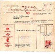 Facturas antiguas: MANUFACTURAS ESPAÑOLAS DUBLER. BARCELONA. 1942. CLIENTE FRANCISCO AZAGRA PAMPLONA. Lote 145627234