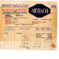 Facturas antiguas: GALLETAS ARTIACH, BILBAO . CLIENTE FRANCISCO AZAGRA PAMPLONA. Lote 145629922