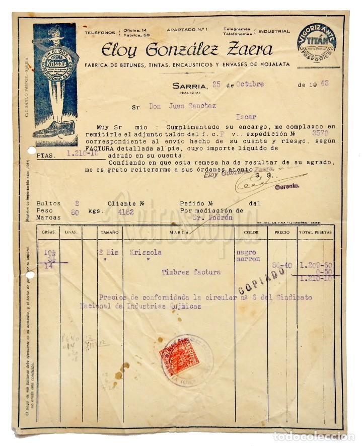 FACTURA FÁBRICA DE BETUNES Y ENVASES DE HOJALATA ELOY GONZÁLEZ ZAERA. SARRIA GALICIA 1943 KRISSOLA (Coleccionismo - Documentos - Facturas Antiguas)