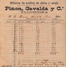 Faturas antigas: FACTURA COMERCIAL DE FABRICA ACEITES DE OLIVA Y ORUJO PIÑON , GAVALDA EN ULLDECONA 1906. Lote 145731806