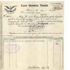 Facturas antiguas: LUIS QUEROL TOMAS. REUS. CLIENTE FRANCISCO AZAGRA PAMPLONA. Lote 146017438