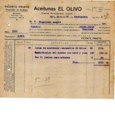 Facturas antiguas: VICENTE PRIETO. ACEITUNAS EL OLIVO. BILBAO. CLIENTE FRANCISCO AZAGRA PAMPLONA. Lote 146018150