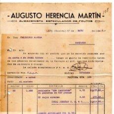Facturas antiguas: AUGUSTO HERENCIA MARTIN. LEPE (HUELVA). CLIENTE FRANCISCO AZAGRA PAMPLONA. Lote 146052194