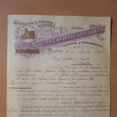 Facturas antiguas: ANTIGUA FACTURA PIMENTÓN EL LEON CONSERVAS VEGETALES GUILLAMON MURCIA 1905. Lote 146227322