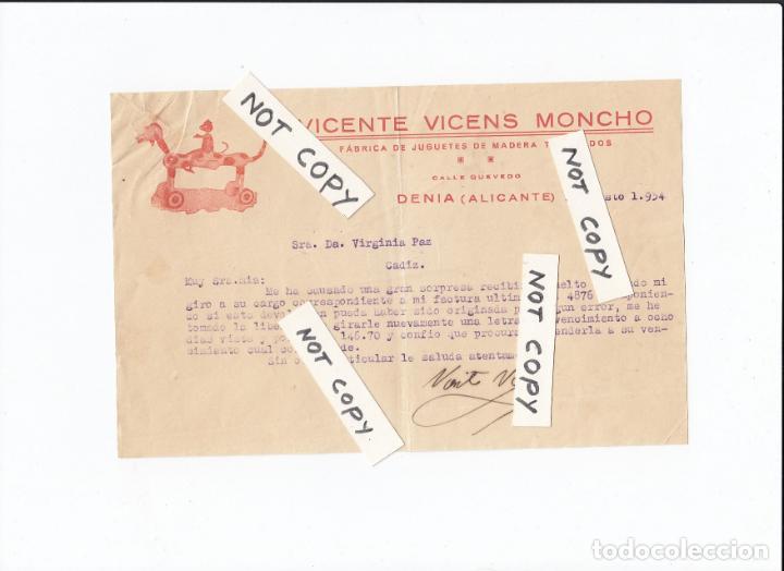 ANTIGUA FACTURA. FABRICA DE JUGUETES DE MADERA TORNEADOS VICENTE VICENS MONCHO.DENIA (ALICANTE).1934 (Coleccionismo - Documentos - Facturas Antiguas)