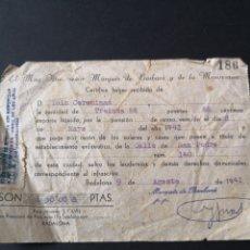 Facturas antiguas: RECIBO DE PAGO POR LA PENSIÓN DE CENSO. 1941.. Lote 146745505