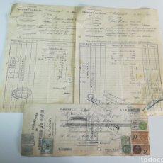 Facturas antiguas: FACTURAS Y LETRA PRODUITS DU ROTIN.ROUEN. 1927.. Lote 147598110