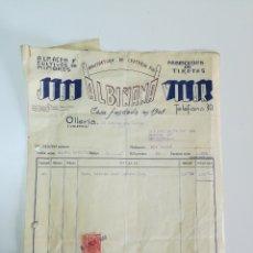 Facturas antiguas: FACTURA JUAN ALBIÑANA VILAR. OLLERIA. VALENCIA. 1950. Lote 147598429