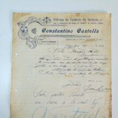 Facturas antiguas: FACTURA. CONSTANTINO CASTELLS. VALLADA. VALENCIA.. Lote 147598592