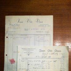 Factures anciennes: FACTURA Y RECIBO. JUAN VILA VIVES. FIGUEROLA. TARRAGONA. 1950. Lote 147671182