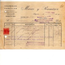 Facturas antiguas: MARCO Y RAMIREZ. LOGROÑO. CLIENTE FRANCISCO AZAGRA PAMPLONA. Lote 147764974