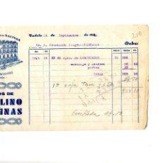 Facturas antiguas: HIJOS DE PAULINO SALINAS. TUDELA. CLIENTE FRANCISCO AZAGRA PAMPLONA. Lote 147766782