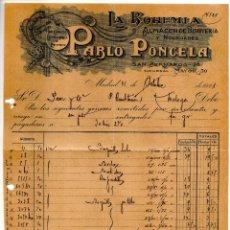 Facturas antiguas: LA BOHEMIA. PABLO PONCELA. MADRID.. CLIENTE PAEZ Y COMPAÑIA. MALAGA. Lote 147774958