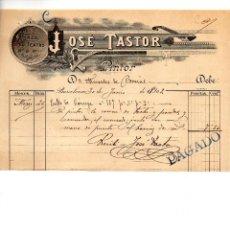 Facturas antiguas: JOSE TASTOR. PINTOR. BARCELONA.. CLIENTE MERCEDES DE BORRAS. Lote 147775766