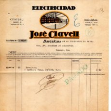 Facturas antiguas: FACTURA ELECTRICIDAD JOSE CLAVELL. BARCELONA. CLIENTE DOLORES DE DALMASES. Lote 147776506