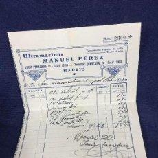 Facturas antiguas: FACTURA Nº 2300 ULTRAMARINOS MANUEL PÉREZ ACEITE ARROZ AZÚCAR 2 DE ABRIL 1936 MADRID. Lote 147974210