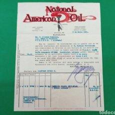 Facturas antiguas: FACTURA NATIONAL AMERICAN OIL 1925. Lote 148076766