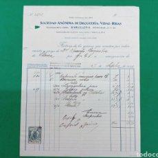 Facturas antiguas: FACTURA S.A. DE DROGUERÍA VIDAL RIBAS 1926. Lote 148147298