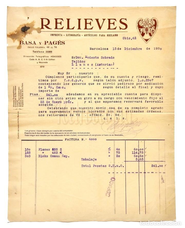 FACTURA IMPRENTA LITOGRAFÍA RELIEVES BASA Y PAGES. BARCELONA 1930 (Coleccionismo - Documentos - Facturas Antiguas)