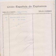 Facturas antiguas: FACTURA. UNIÓN ESPAÑOLA DE EXPLOSIVOS. FÁBRICA DE LA MANJOYA.OVIEDO. ASTURIAS. 1936. Lote 148237506