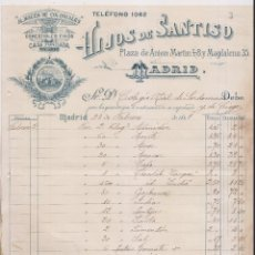 Facturas antiguas: FACTURA. HIJOS DE SANTISO. ALMACÉN DE COLONIALES. MADRID, 1899. Lote 148241286