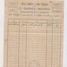 Facturas antiguas: FACTURA. C. GURREA. HULLAS, BRIQUETAS Y COKES SUPERIORES. MADRID, 1899. Lote 148242014