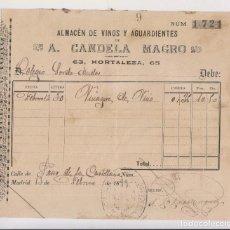 Facturas antiguas - FACTURA. A. CANDELA MAGRO. ALMACÉN DE VINOS Y AGUARDIENTES. MADRID, 1899 - 148370522