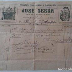 Facturas antiguas: SABADELL. BARCELONA. JOSÉ SERRA. ESCULTOR Y MARMOLISTA. 1926. Lote 149531166