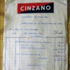 Facturas antiguas: 2 ANTIGUA FACTURA LOGOTIPO CINZANO AÑO 1938 PUBLICIDAD . Lote 149854706