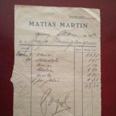 Facturas antiguas: FACTURA DE MATIAS MARTN EN CASTELLON MARZO 1950. Lote 149946826