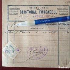 Facturas antiguas: RECIBO DE CRISTALERIA FORCADELL - CASTELLON - 20 - 2 1943. Lote 150613034