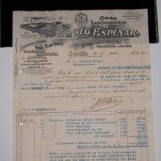 Facturas antiguas: FACTURA JG ESPINAR LABORATORIO FARMACÉUTICO FARMACIA AÑO 1936 // BONITO MEMBRETE. Lote 150849062