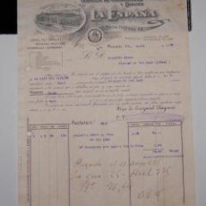Facturas antiguas: FACTURA CHOCOLATES LA ESPAÑA AÑO 1935 // BONITO MEMBRETE. Lote 151037642
