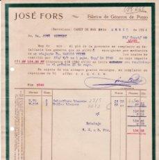 Facturas antiguas: BARCELONA - 1924 - JOSÉ FORS FÁBRICA DE GENEROS DE PUNTO - 26 DE ABRIL 1924. Lote 151060422