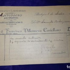 Facturas antiguas: ANTIGUA FACTURA FARMACIA Y LABORATORIO FRANCISCO VILLANUEVA CASTELLANO, BADAJOZ, AÑOS 1918. Lote 151156074