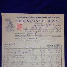 Facturas antiguas: ANTIGUA FACTURA FABRICA DE SANITARIOS SAN CRISTOBAL.FRANCISCO ARZO,CASTELLON, AÑOS 1946. Lote 151407778