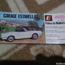 Facturas antiguas: RECIBO FACTURA ALQUILER COCHE EN PALMA DE MALLORCA 'GARAGE ESTARELLAS' (SEAT 850 CABRIO EN PORTADA). Lote 151431245