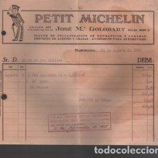 Facturas antiguas: FACTURA DE PETIT MICHELIN TALLER DE AUTOS COCHES MOTO - CALLE ARAGÓN, 247 DE BARCELONA 1928. Lote 151497829