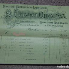 Facturas antiguas: FACTURA FARMACIA LABORATORIO FARMACEUTICO Y DROGUERÍA VILADOT OLIVA SA 1938 BARCELONA. Lote 151651914