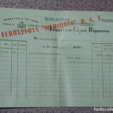Facturas antiguas: FACTURA FERRETERÍA EL LEÓN DE ALCÁZAR DE SAN JUAN 1938 FERRETERÍA MERCURIO UGT. Lote 151652078