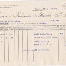 Facturas antiguas: FACTURA COMERÇ I INDUSTRIES ALBAREDA, CERVERA, 16 ENERO 1924. Lote 152023810